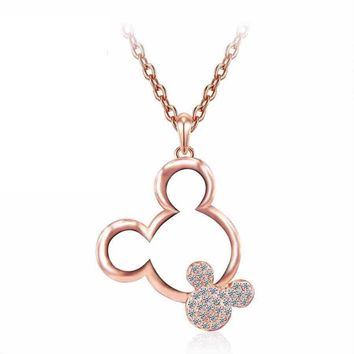 Mouse Necklace Pendant Rose Gold Austrian Crystal With Rhinestone