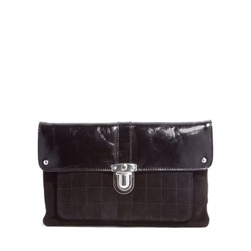ASOS Leather Clutch Bag With Front Push Lock