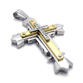 Crystal Inlaid Cross Necklace of 316L Steel Titanium Jewelry for Men (PENDANT ONLY)-Color Black/Silver