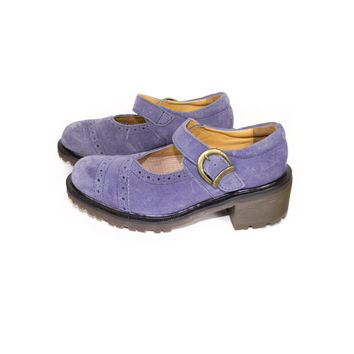 5 UK | DR MARTENS lavender pastel suede leather mary janes shoes - Made in England - purple single strap buckle mary jane docs - womens us 7