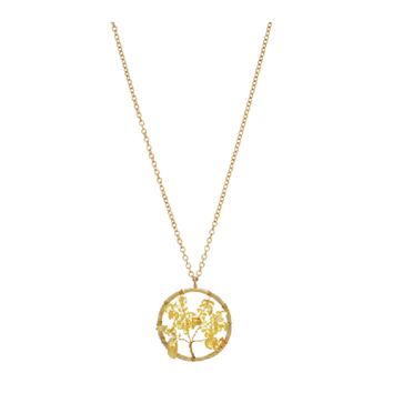 Worn Gold Necklace W/ Tree Pendant