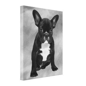 French Bulldog Sitting Watercolor Oil Painting Canvas Print