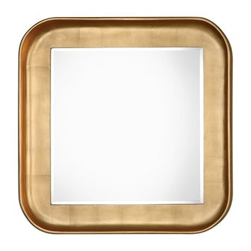 Haemon Contemporary Metallic Gold Square Wall Mirror by Uttermost