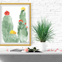 Cactus print Succulent printable Watercolor cactus wall art Cacti wall decor Large art 30x40 16x20 8x10 5x7 INSTANT DOWNLOAD Arizona art