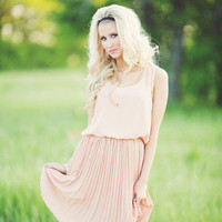 Pale Pink Dress with Gold Chain Trim | Amaranth Collection
