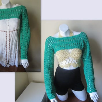 Cropped Sweater, Emerald Green, crochet sweater, sweater SHRUG, Boho Long sleeved sweater, cropped top, gypsy,  Cotton
