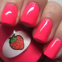 Neon Shimmer Jelly Strawberry Nail Polish