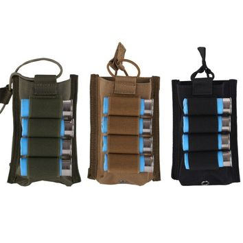 Outdoor Tactical Single Molle Open 5.56mm Magazine Pouch with 4 rounds 12 Gauge Shotgun Shells Combat Military Bag