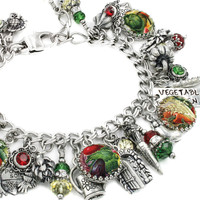 Vegetable Garden Jewelry, Vegetable Charm Bracelet