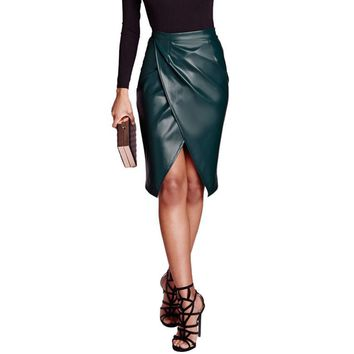 Women Pencil Skirts Fashion Ladies Leather Skirt Bandage