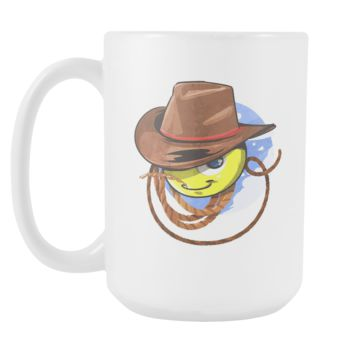 Cowboy Rodeo Yeehaw Cartoon Funny White 15oz Mug