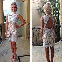 Sleeveless 2016 Sexy Vestido De Festa High Neck Short Cocktail Dresses Open Back Lace Nude Lining Party Dress White