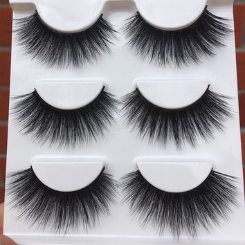 09 New Hand Made Soft False Eyelashes 3D Exaggerated Cross Messy Thick Eye Lashes Stage Performance Smoke Makeup Fake Eyelashes