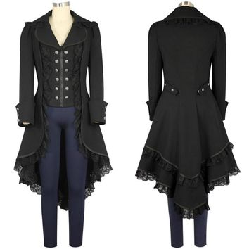 women's Steam punk Tailcoat Jacket Black Gothic Victorian Coat