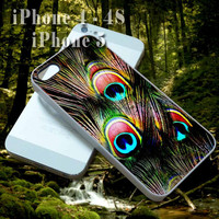 Peacock Feather - Custom Cell Phone Case - iPhone 4 4s,5,5s,5c - Samsung S3,S4 - iPod 4, 5 - HTC One,One X - BB Q10,Z10