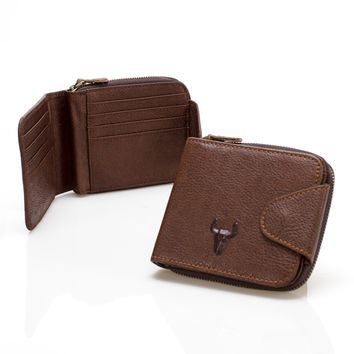 Leather Men Hot Sale Unisex Zippers Big Capacity Wallet [9026288003]