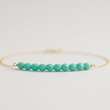 Turquoise beaded bar gold filled bracelet - simple modern jewelry by AmiesAmies