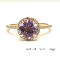 Round Purple Amethyst Engagement Ring Pave Diamond Wedding 14K Rose Gold 7mm