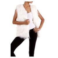 Open Faux Fur Vest, White