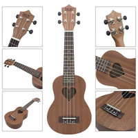 "21"" Full Sapele Wood Heart-shaped Sound Hole Ukulele Coffee"