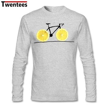Men's Cool Vegan Fruit Lemon Bicycle Biker T Shirt Custom Long Sleeve