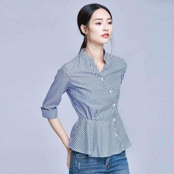Blue White Striped Shirt Women Summer Fashion Peter Pan Collar Blouse Short Sleeve Buttons Cotton Tops Blouses