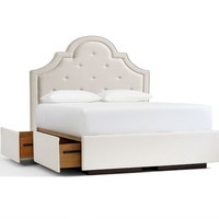 YORK UPHOLSTERED TUFTED HEADBOARD & STORAGE PLATFORM BED