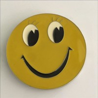 Yellow Round Smiley face Belt Buckle