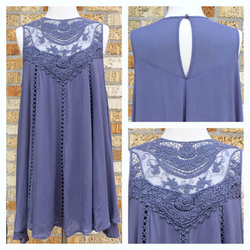 A Bohemian Lace Dress in Periwinkle Blue