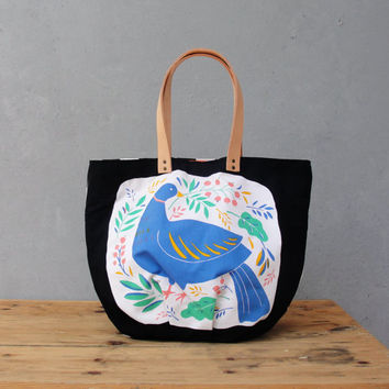 The Tampella Tote - Vintage bird printed Cotton with Leather handles
