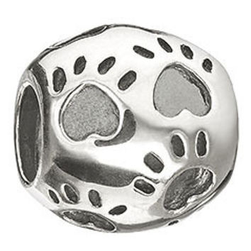 CHAMILIA Paws Print Sterling Silver Bead