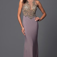 Long Sleeveless Prom Dress with Beaded Sheer Bodice