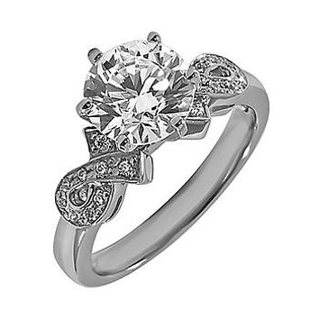 Ethically Mined 14K White Gold 1.11TCW Round Cut Diamond Engagement Ring