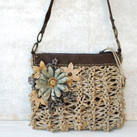 Boho purse, leather crossbody bag,beige leather purse, beige leather bag, rustic purse,flower purse,