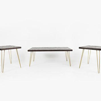 Contemporary Wood Table With Hairpin Metal Legs, Brown and Gold, Pack of 3 - BM181694