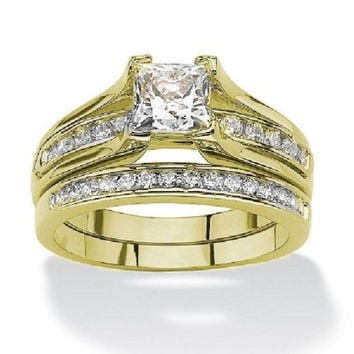 Women's Yellow Gold Plated Cz Wedding Engagemnet  Ring Set sizes 5-11