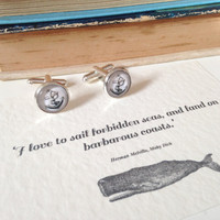 Moby Dick 'I Love To Sail' Anchor Cufflinks