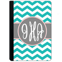Personalized iPad Case - Personalized iPad Cover - For iPad 2, 3, 4, Air, Mini - Tiffany Teal Chevron Grey Monogram