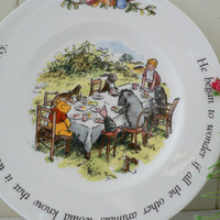 Winnie the Pooh  vintage 1990's plate called a special party for Pooh by Royal Doulton