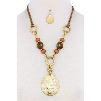 Chic Bead Fashion Pendant Necklace And Earring Set