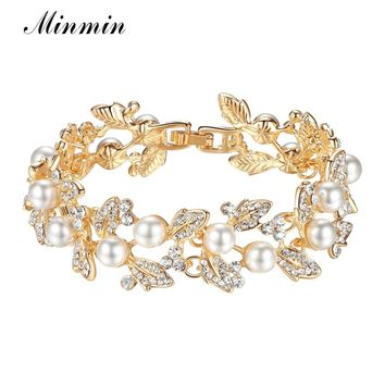 Minmin Leaf  Shape Synthetic Pearl Crystal Charm Bracelets for Women Gold/Silver Color 2018 Fashion Bridal Wedding Jewelry SL089