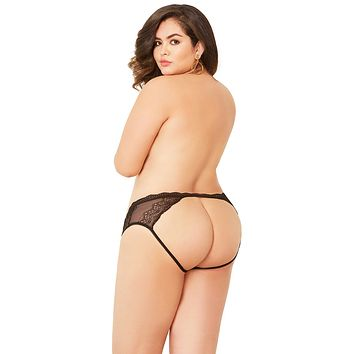 Sexy Housewives Lace and Net Open Back Plus Size Panty