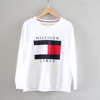 Tommy Hilfiger Sweatshirt White Big Logo Tommy Pullover Baggy Slouchy Old School Sweatshirt Vintage Size L #T195A