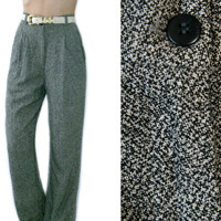 Vintage 80s/90s Slacks~Size Extra Small~Waist 24/25~High Waisted Pleated Speckled Black White Work Pants~By First Issue