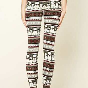 Snowman Print Knit Leggings
