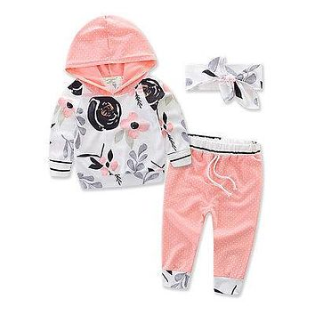 Abacaxi Kids Baby Girl Hooded Pink Floral 3PCS Outfit 6M-3T