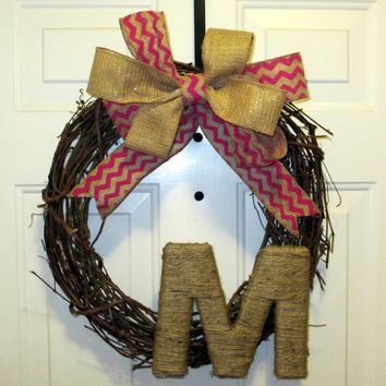 Spring/ Summer Grapevine Wreath - Monogrammed - Chevron Burlap Bow - Twine Letter - Easter
