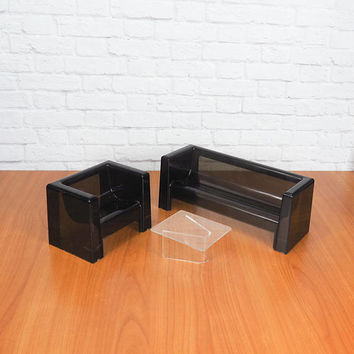 1970s Barbie Doll Furniture Living Room Group | Smoked Acrylic Sofa, Club Chair and Table | April Day Creations Tomorrow™ Furniture