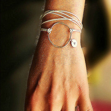 Organic, large. silver, circle. Wrap leather karma bracelet, Silver, infinity, circle necklace, Personalized bracelet necklace, initial disc