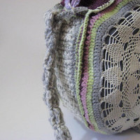 Large Crochet Bag Handmade Croched Cotton Yarn Tote Handbag Knitted Handbag Crochet Handbag